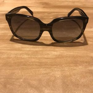 Warby Parker dark green and gold sunglasses